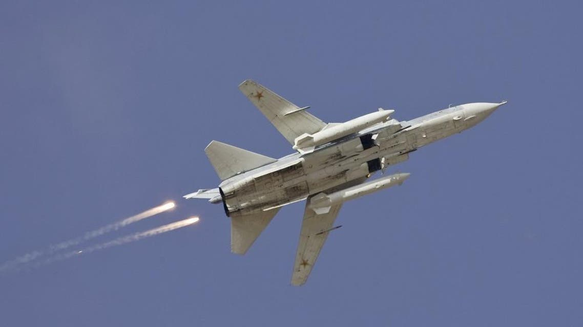A Sukhoi Su-24 jet fighter drops flares during a joint Kazakh-Russian military exercise at Otar military range, west of Almaty, in this October 3, 2008 file picture. A warplane shot down by Turkey near the Syrian border on November 24, 2015 | Reuters