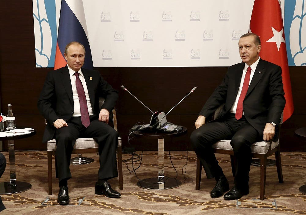 Turkey's President Tayyip Erdogan (R) meets with his Russian counterpart Vladimir Putin at the Group of 20 (G20) leaders summit in the Mediterranean resort city of Antalya, Turkey, November 16, 2015 | Reuters