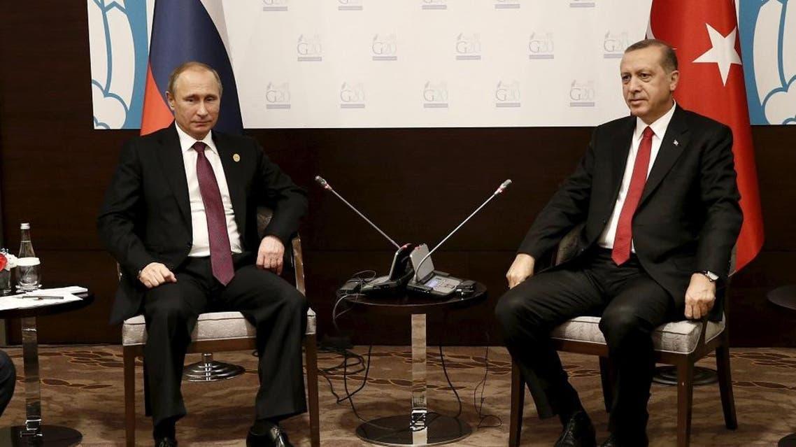 Turkey's President Tayyip Erdogan (R) meets with his Russian counterpart Vladimir Putin at the Group of 20 (G20) leaders summit in the Mediterranean resort city of Antalya, Turkey, November 16, 2015 | Reuters