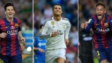 Ronaldo, Messi, Neymar on shortlist for Ballon d'Or