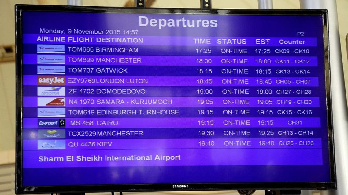 An information board lists departures at Sharm el-Sheikh Airport in south Sinai, Egypt, Monday, Nov. 9, 2015 | AP