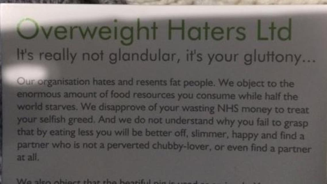 Health worker Kara Florish was handed a card calling her 'fat and ugly' by the 'Overweight Haters Ltd'. (Screenshot via Twitter)