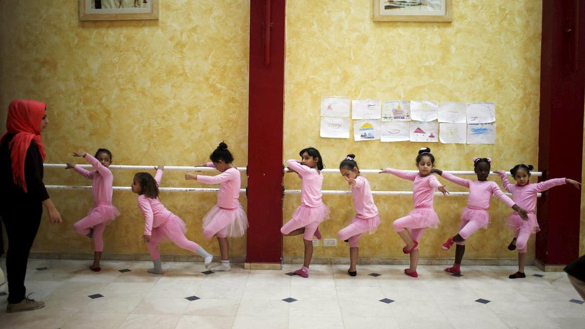 Palestinian girls take part in a ballet dancing course, run by the Al-Qattan Center for Children, in Gaza City Nov. 25, 2015. (Reuters)