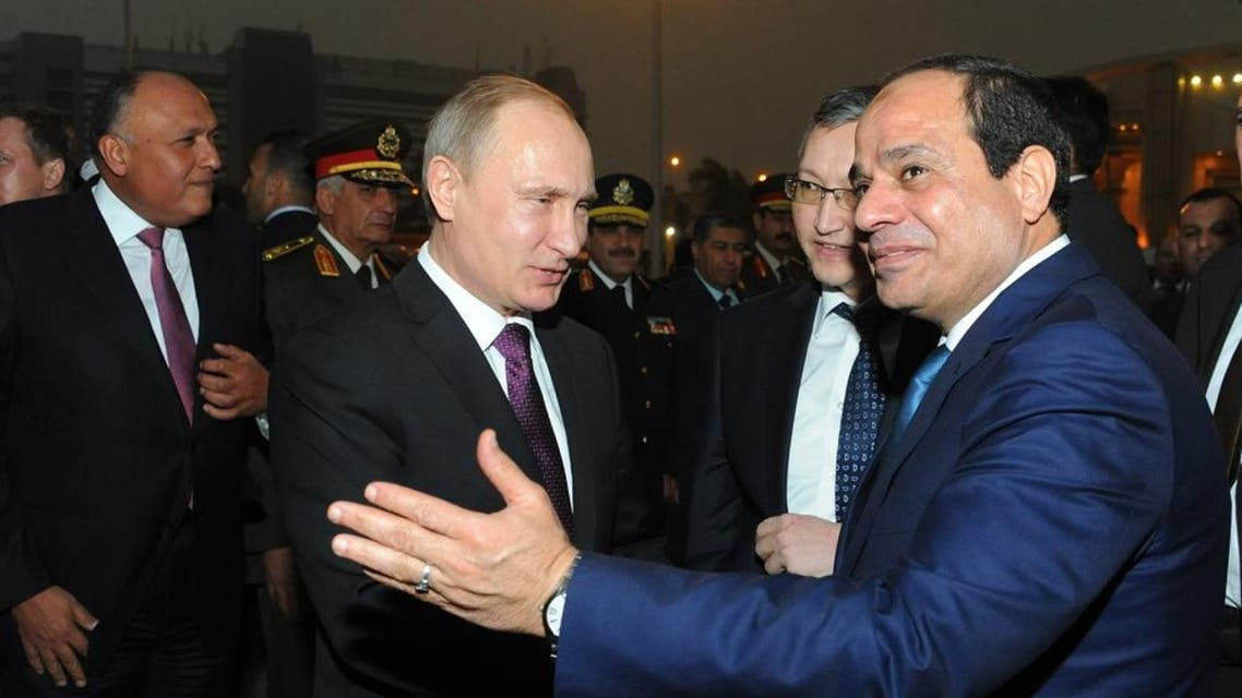 Egyptian President Abdel-Fattah el-Sisi (right) and Russian President Vladimir Putin said in Nov. that the two countries would build Egypt's first nuclear power plant together. (AP Photo/Egyptian Presidency)