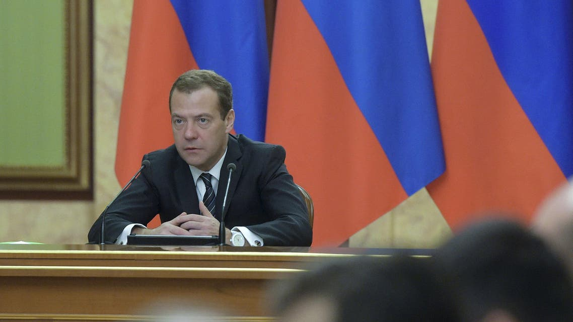 Russian Prime Minister Dmitry Medvedev chairs a meeting with government members and other officials in Moscow, Russia, December 1, 2015. REUTERS/Alexander Astafyev/Sputnik/Pool ATTENTION EDITORS - THIS IMAGE HAS BEEN SUPPLIED BY A THIRD PARTY. IT IS DISTRIBUTED, EXACTLY AS RECEIVED BY REUTERS, AS A SERVICE TO CLIENTS.