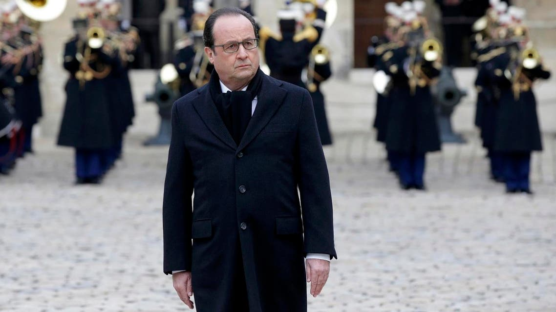 French President Francois Hollande arrives to lead a ceremony to pay a national homage to the victims of the Paris attacks at Les Invalides monument in Paris. (File photo: Reuters)