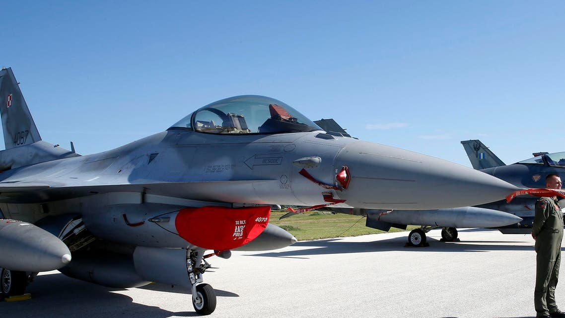 A F16 jet fighter, foreground, is parked on the tarmac during the opening ceremony of NATO Trident Juncture exercise 2015, in Trapani, Italy, Monday, Oct. 19, 2015.  (AP)
