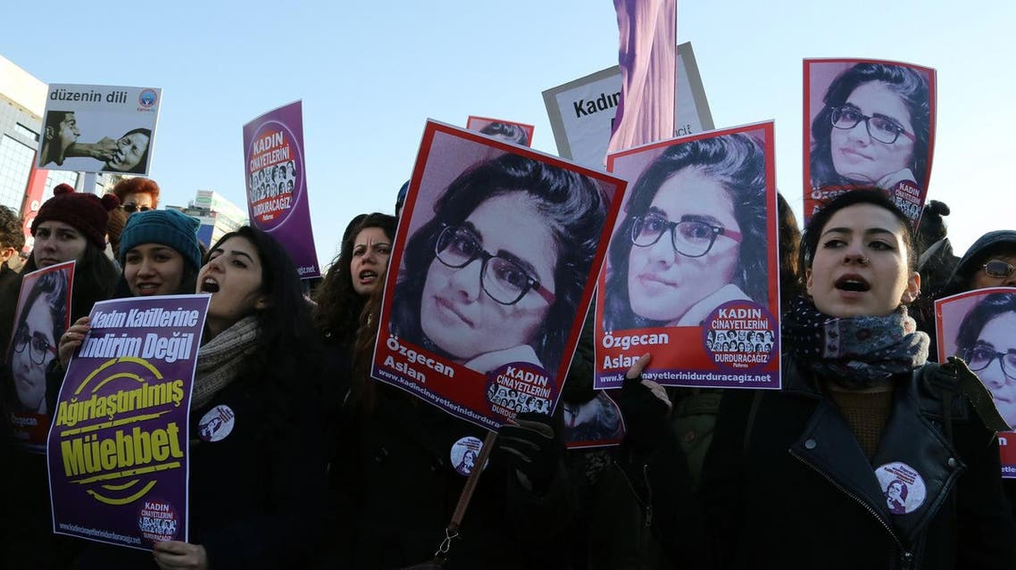 Turkish women and human rights activists gather on Feb. 21, 2015 and shout slogans to protest killing of student Ozgecan Aslan. (AP)