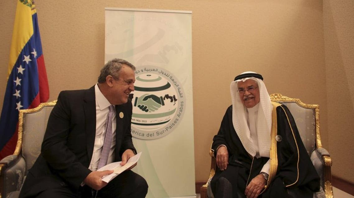 Venezuela's Oil Minister Eulogio Del Pino (L) and Saudi Arabia's Oil Minister Ali al-Naimi smile while they talk during a bilateral meeting at the Summit of South American-Arab Countries in Riyadh in this handout picture provided by Miraflores Palace November 11, 2015. | Reuters