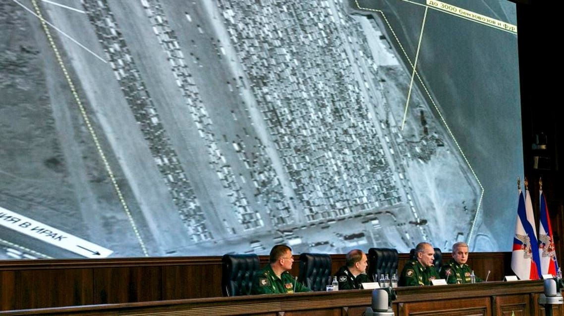 The Russian Defense Ministry invited dozens of foreign military attaches and hundreds of journalists to reveal what they said were satellite and aerial images of thousands of oil trucks streaming from the IS-controlled deposits in Syria and Iraq into Turkish sea ports and refineries | AP