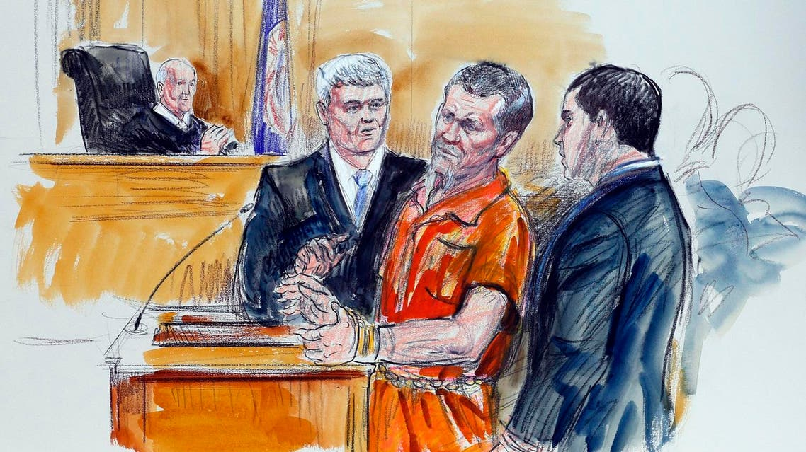 This Friday Nov. 7, 2014 artist rendering shows Irek Hamidullin, front center, his attorney Robert Wagner, front left, and interpreter Ihab Samra, front right, as judge Henry Hudson, left, listens in Federal Court in Richmond. (File photo: AP)