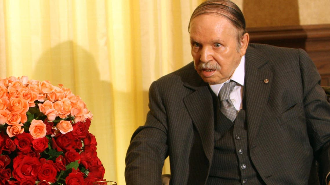 In this photo dated Friday, June 12, 2015 Algerian President Abdelaziz Bouteflika poses during a meeting with French Foreign Affairs minister, Laurent Fabius, in Algiers, Algeria, Monday, June 15, 2015. (AP)