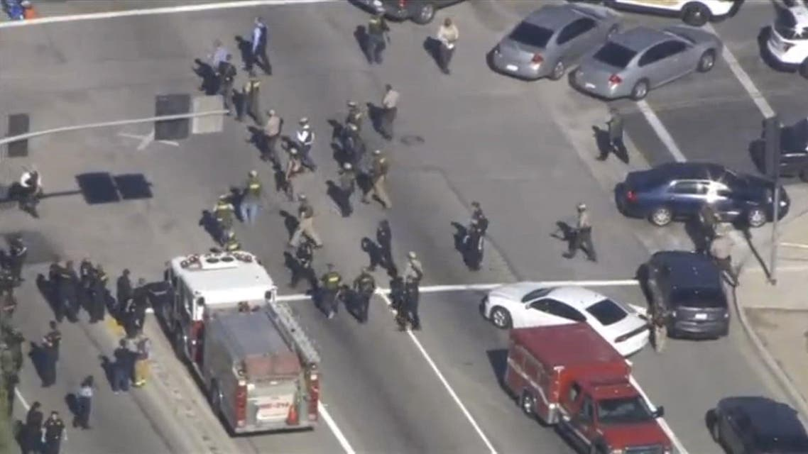 A still image from a video footage courtesy of Nbcla.com shows first responders responding to a shooting at the California Department of Developmental Services Inland Regional Center, one of 21 facilities serving people with developmental disabilities, in San Bernardino, California December 2, 2015.