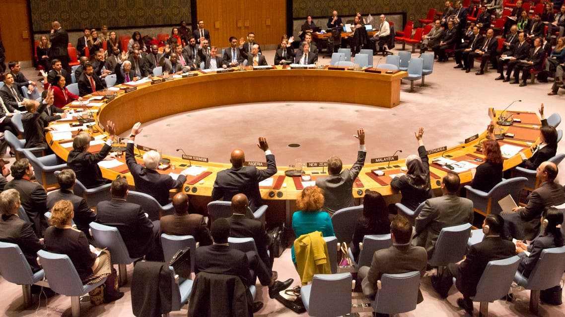U.N. Security Council members vote on a French-sponsored counter terrorism resolution aimed at Islamic extremist, Friday, Nov. 20, 2015 at United Nations headquarters.