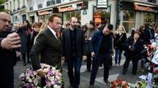 Schwarzenegger lays wreath at Paris massacre site
