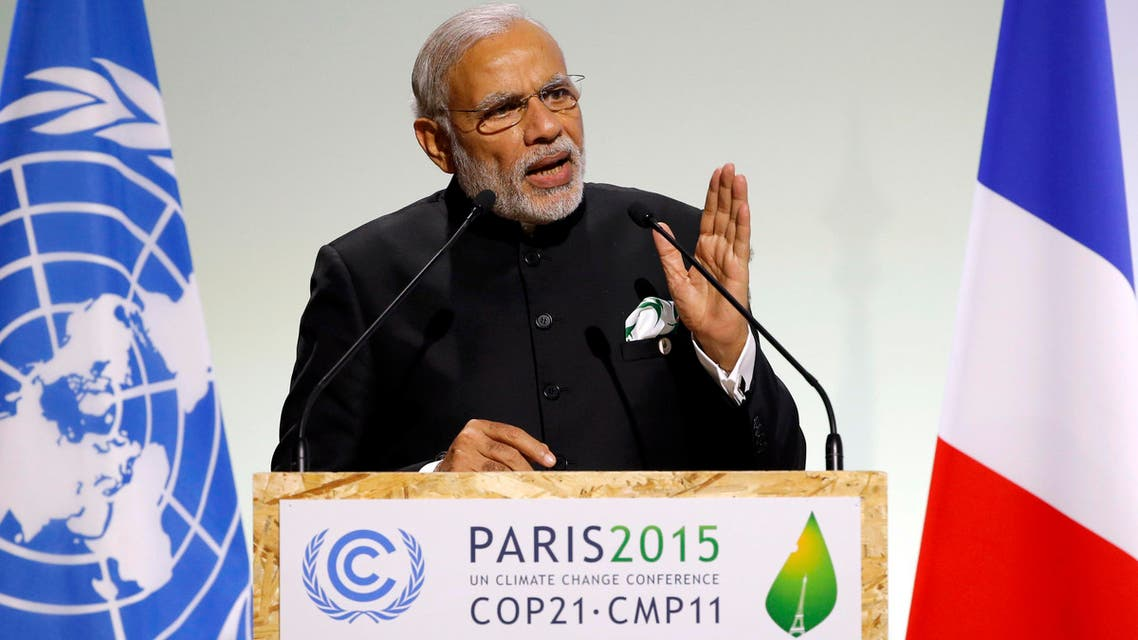 Indian Prime Minister Narendra Modi delivers a speech during the opening session of the World Climate Change Conference 2015 (COP21)