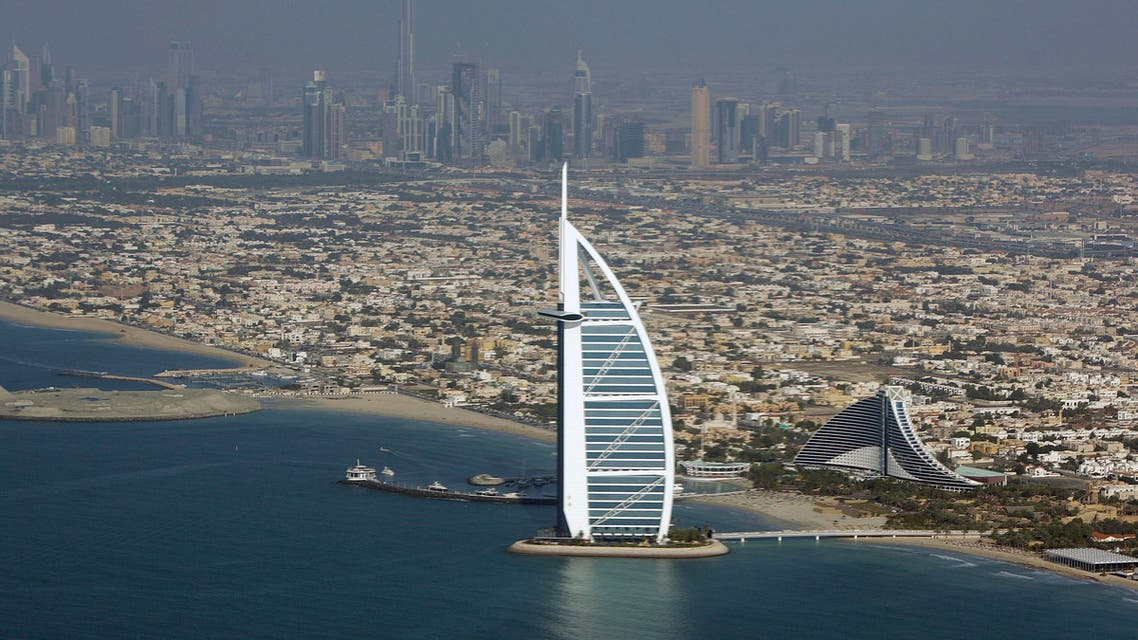This Sunday, Jan. 3, 2010 file photo, shows an aerial view of Burj Al Arab, the luxury hotel, center, in Dubai, United Arab Emirates.  (AP)
