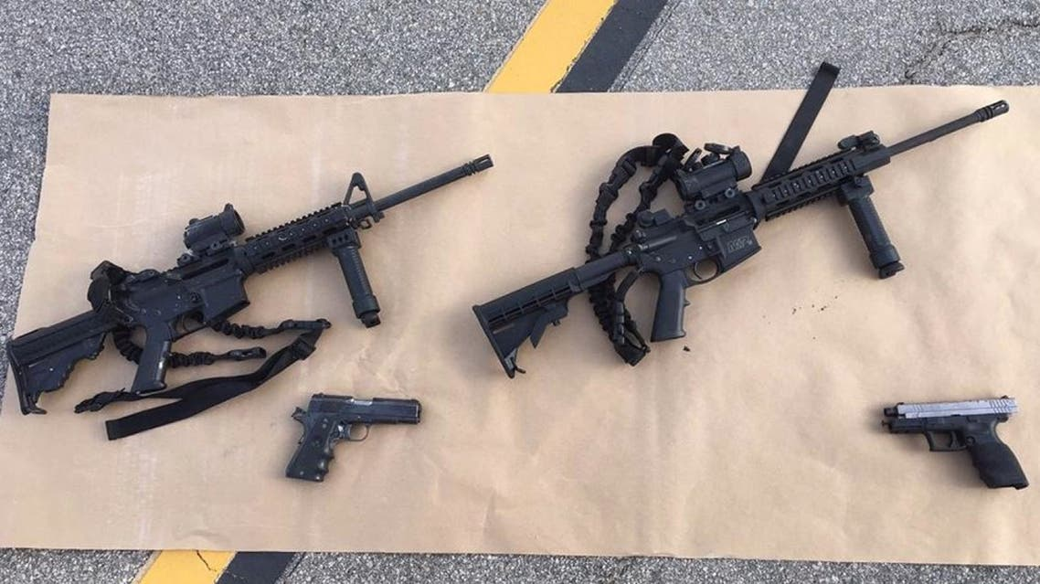 Weapons carried by suspects at the scene of a shootout in California. (San Bernardino County Sheriff's Department via AP)
