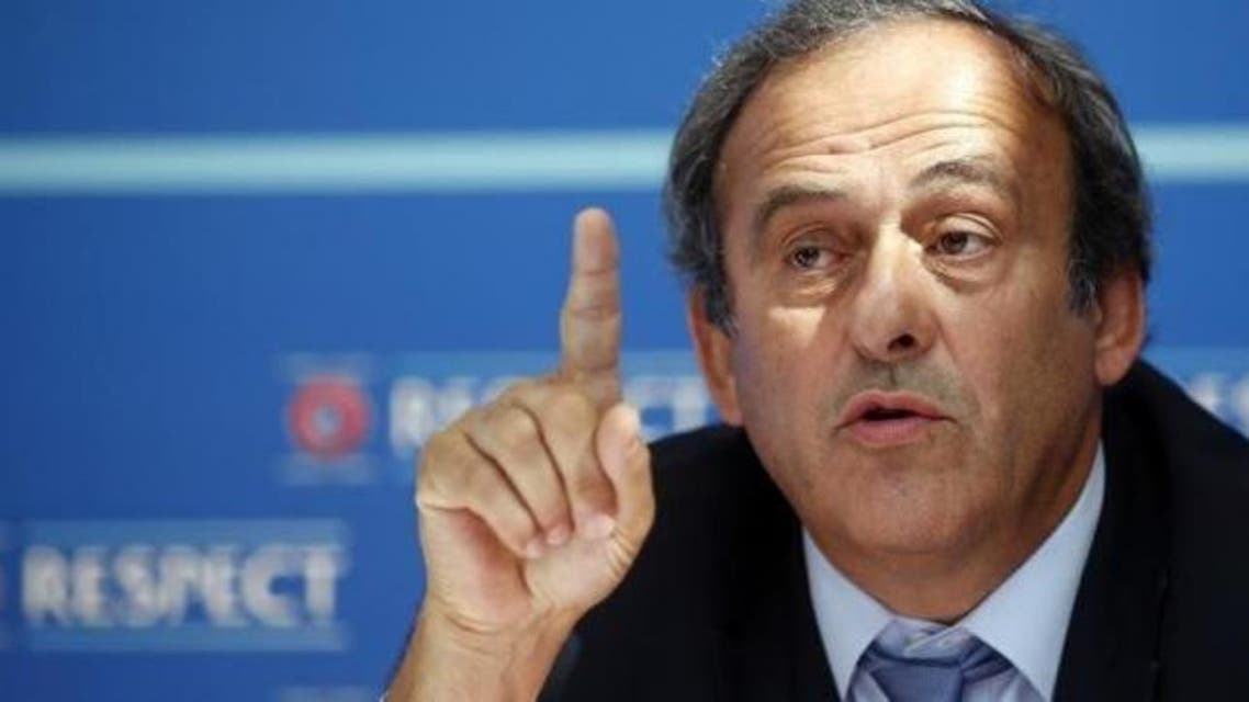 UEFA President Michel Platini attends a news conference after the draw for the 2015/2016 UEFA Europa League soccer competition at Monaco's Grimaldi Forum in Monte Carlo, Monaco August 28, 2015