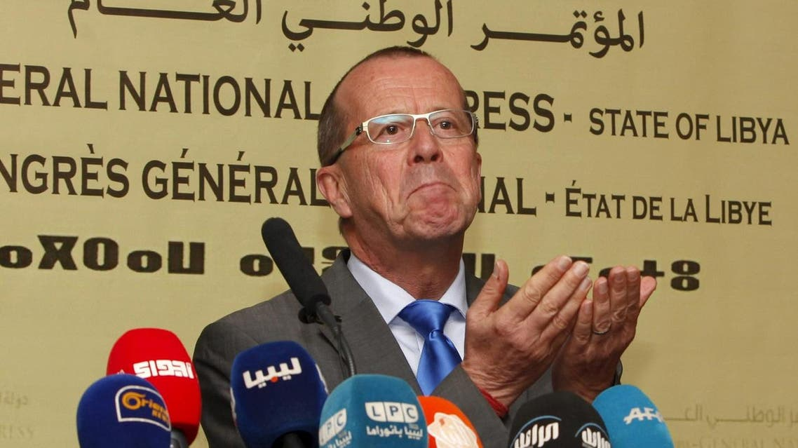 UN Special Representative and Head of the UN Support Mission in Libya, Martin Kobler gestures during a news conference in Tripoli. (Reuters)