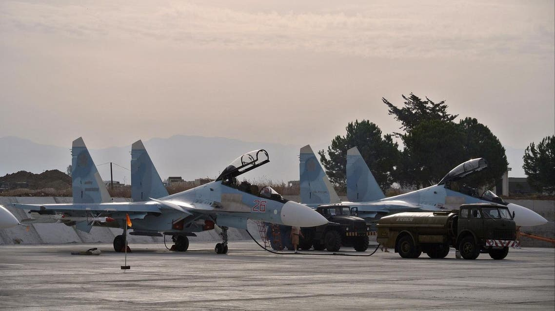 Russian fighter jets are parked in preparation for combat action at Hemeimeem airbase, Syria. (File photo: AP)