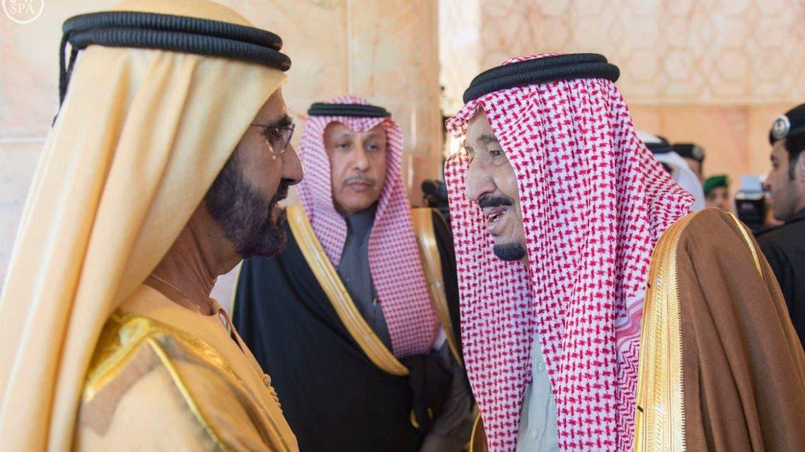 Saudi King Salman greets Dubai ruler Sheikh Mohammed bin Rashid in Riyadh. (SPA)