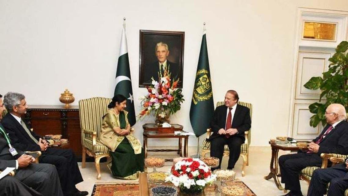 Indian FM With Nawaz Sharif