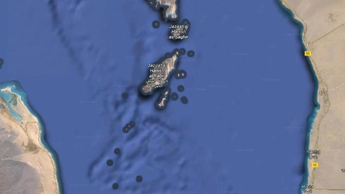 The islands were controlled by Yemeni militias loyal to Saleh and used by the Houthis to store weapons. (Image via Google Maps)