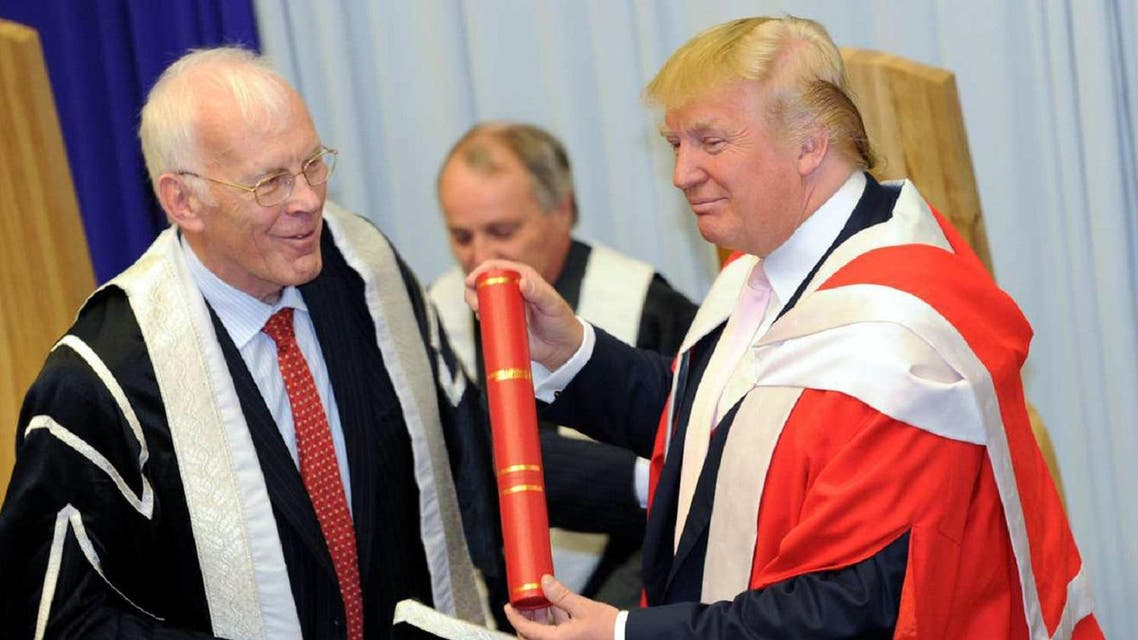 Sir Ian Wood, Chancellor of Robert Gordon University presents Donald Trump with his honorary award of Doctor of Business Administration at Robert Gordon University back in 2010. (File photo: AP)