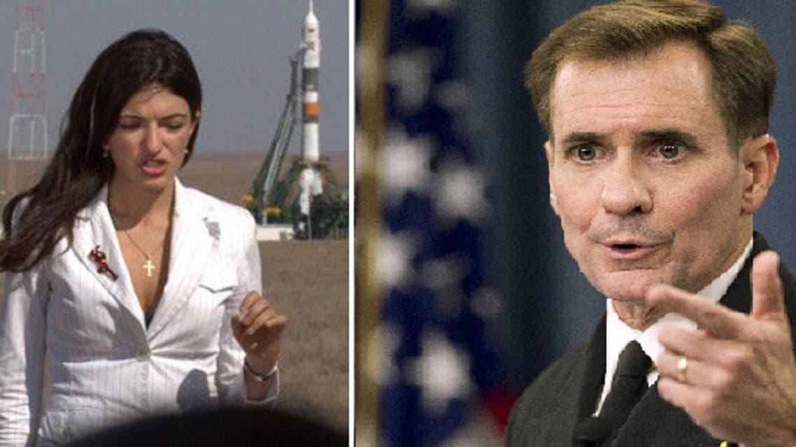 Spokesman John Kirby chided RT's Gayane Chichakyan as she chided him on U.S.' position regarding the Turkey-Iraq spat. (Photos via Twitter @Gayane_RT and AP)