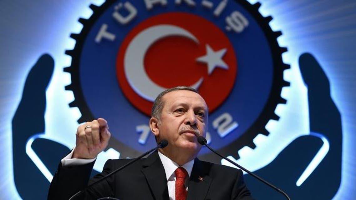Turkey's President Recep Tayyip Erdogan addresses a labor union meeting in Ankara on Dec. 3. (AP)
