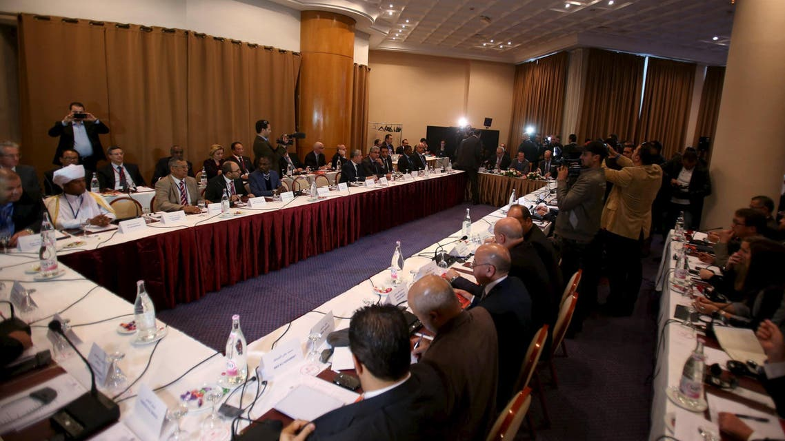 General view of the meeting between Libya's two rival governments in Tunis, Tunisia, December 10, 2015.