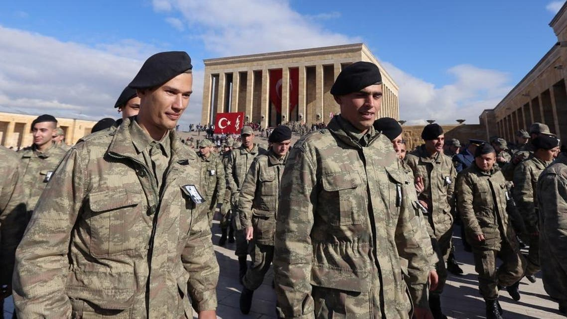 Turkish soldiers leave his mausoleum as thousands of students, army officers and citizens visit to remember the nation's founding father Mustafa Kemal Ataturk on the 77th anniversary of his death, in Ankara, Turkey. (File photo: AP)