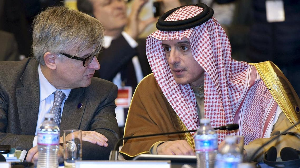 Saudi Foreign Minister Adel al-Jubeir (R) takes part in an international conference at the Ministry of Foreign Affairs in Rome December 13, 2015. Reuters