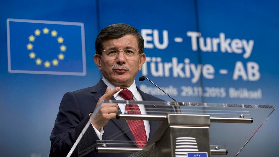 Turkish Prime Minister Ahmet Davutoglu speaks during a media conference at an EU-Turkey summit in Brussels. (File photo: AP)