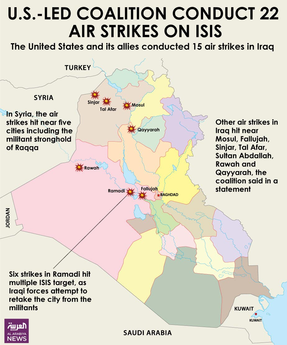 Infographic: U.S.-led coalition conduct 22 air strikes on ISIS