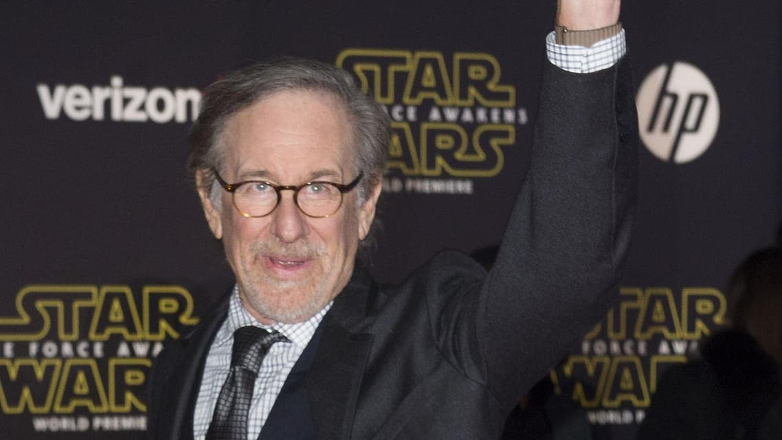 """Director Steven Spielberg attends the World Premiere of """"Star Wars: The Force Awakens"""", in Hollywood, California, on December 14, 2015.AFP"""