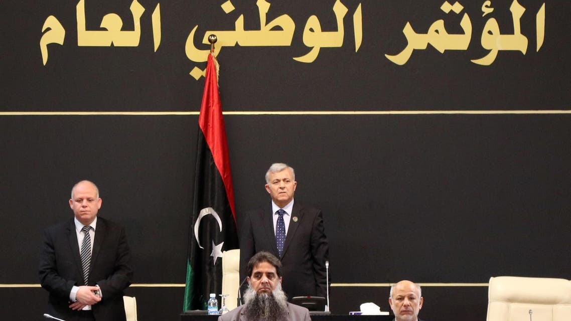 The president of the Tripoli-based General National Congress, Nuri Abu Sahmein (C top), leads a parliament session in the Libyan capital on December 16, 2015, ahead of the expected signing of a UN plan for a national unity government.
