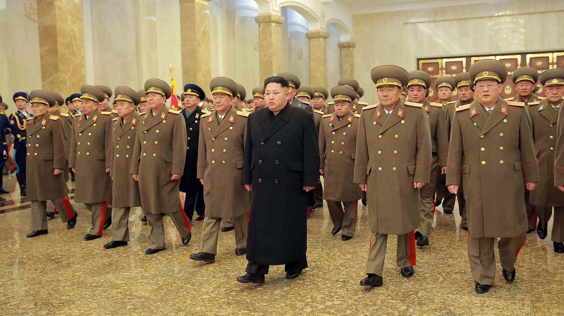 North Korean leader Kim Jong-Un (C), accompanied by commanding officers of the Korean People's Army, visit the Kumsusan Palace where his father Kim Jong-Il lies in state in Pyongyang on December 17, 2015. (AFP)