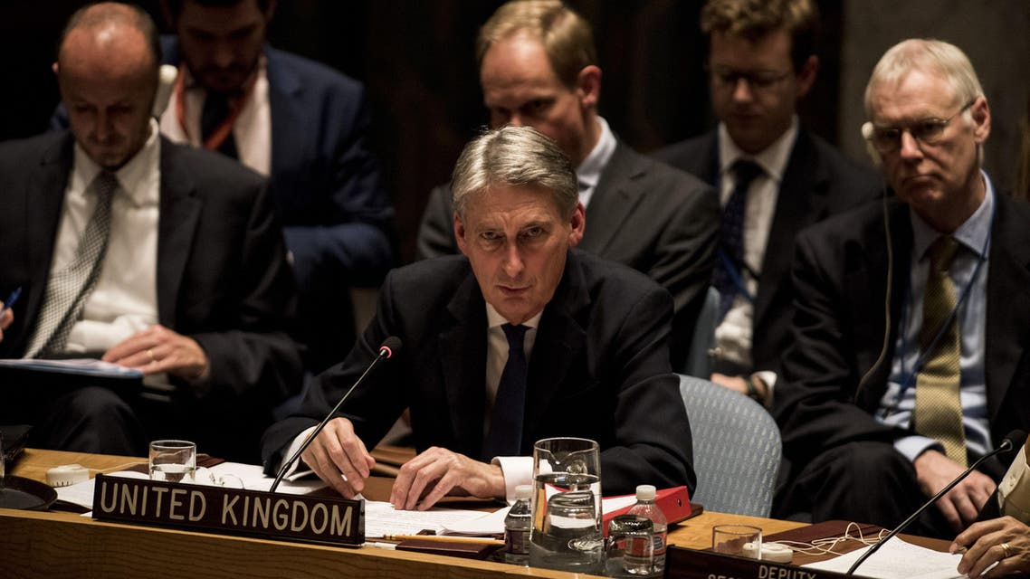 British Secretary of State Philip Hammond speaks during security council meeting on the situation in Syria on December 18, 2015 at United Nations Headquarters.