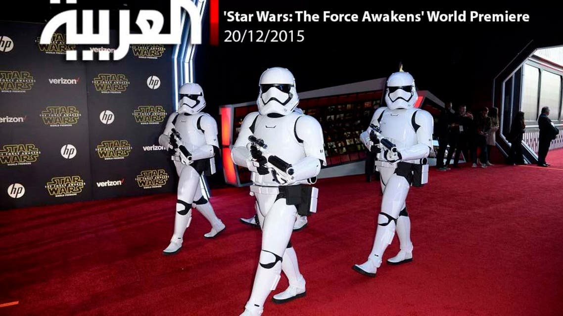 Storm Troopers march in at the world premiere of the film