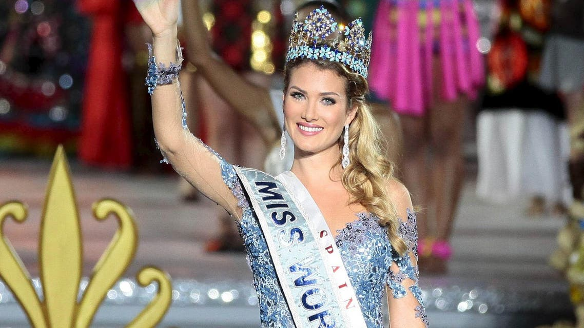 Miss Spain Mireia Lalaguna Royo waves after crowning the Miss World 2015 beautiful pageant in Sanya. (Reuters)
