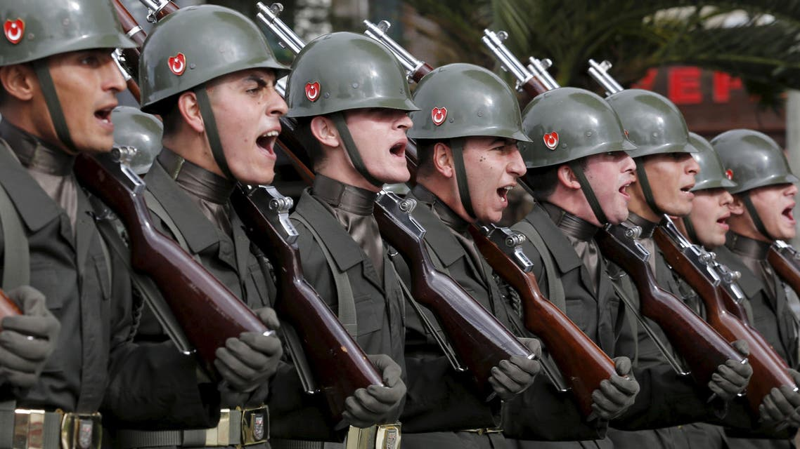 Turkish soldiers march during a Republic Day ceremony in Istanbul, Turkey, October 29, 2015. Turkey marks the 92nd anniversary of the Turkish Republic. (Reuters)