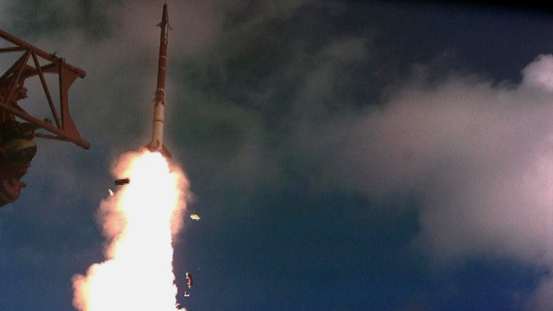 This undated photo provided by the Israel Ministry of Defense shows a test launch of David's Sling missile system. (AP)