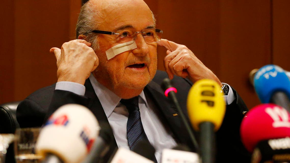 Suspended FIFA President Sepp Blatter attends a news conference in Zurich, Switzerland, Monday, Dec. 21, 2015 after he has been banned for 8 years from all football related activities.  (AP)
