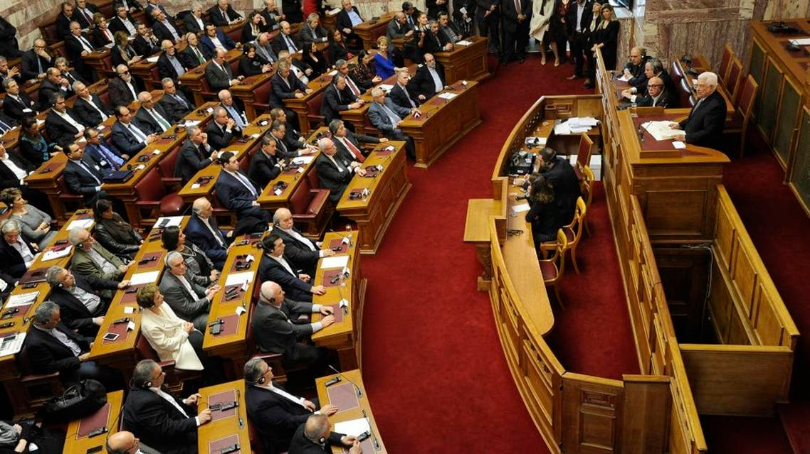 Palestinian President Mahmoud Abbas delivers a speech at the Greek parliament in Athens, Greece, December 22, 2015. (Reuters)