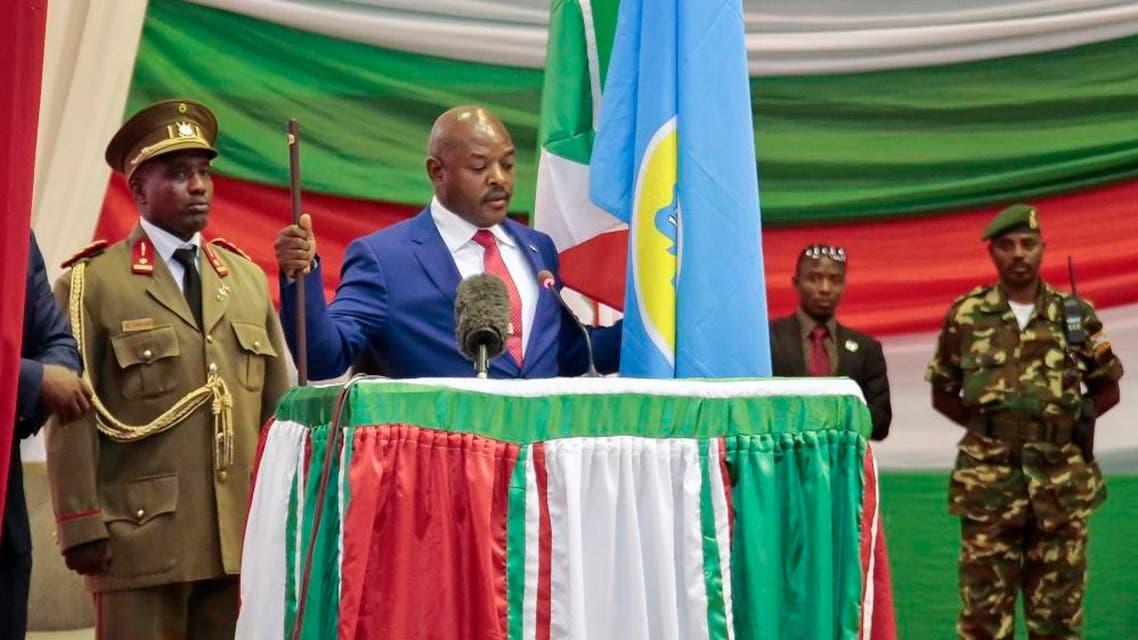 Burundi's President Pierre Nkurunziza is sworn in for a third term at a ceremony in the parliament in Bujumbura, Burundi, Thursday, Aug. 20, 2015 | AP
