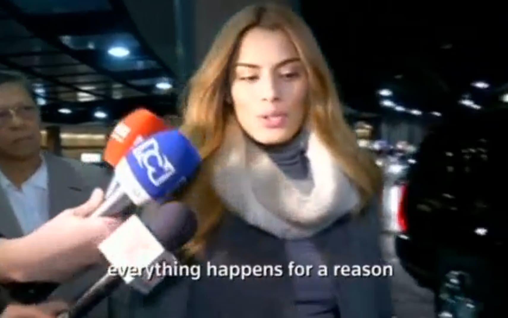 Ariadna Gutierrez speaking to the media