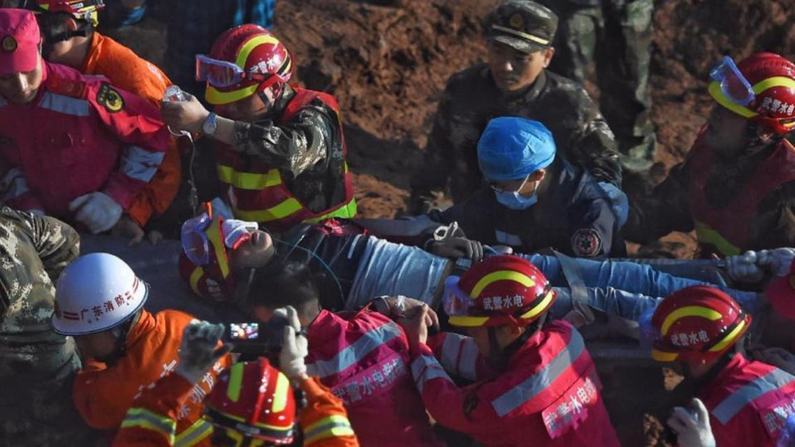 The man, Tian Zeming, was rescued around dawn on Wednesday. (AP)