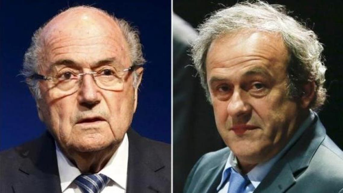 Combination file photograph of FIFA President Sepp Blatter addressing a news conference at the FIFA headquarters in Zurich, Switzerland June 2, 2015 and UEFA President Michel Platini (R) attending the 65th FIFA Congress in Zurich, Switzerland, May 29, 2015. (Reuters)
